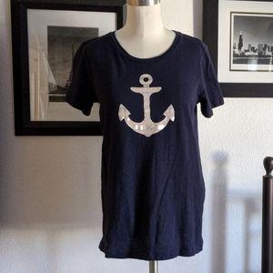 J.Crew Navy Anchor Collector Tee Size Small